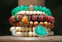 Green Onyx w Gold Pave Diamond Ball Emerald by HappyGoLuckyJewels, $179.00