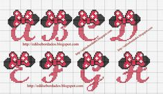 free cross stitch patterns for alphabets (tons of well known characters!) in spanish but pattern itself is easy to follow