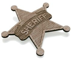 Sheriff Badge brooch laser cut - wooden