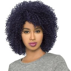The None Lace Front Wig Brazlian Synthetic Hair Blend Wig HH Afro weave Curly Jerry Curl Short Wigs Short Natural Curly Hair, Curly Hair Cuts, Curly Hair Styles, Natural Hair Styles, Curly Blonde, Braided Ponytail Hairstyles, Permed Hairstyles, Grey Hairstyle, Afro Weave