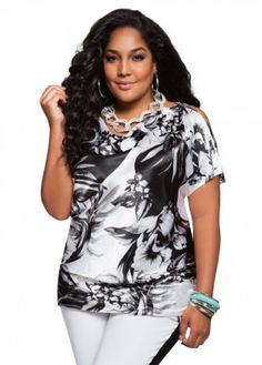 Ashley Stewart Women's Plus Size Charmeuse Drape Neck Top with a beautiful black and white print