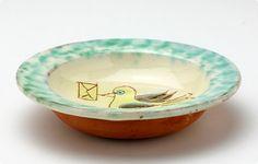 ポルトガルの手描きの小皿 小鳥×レター    #bird #Portugal #tableware #plate #torimizuki Portugal, Tableware, Dinnerware, Tablewares, Dishes, Place Settings