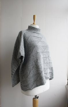 Hand Knitted Turtleneck Gray Melange Poncho with by denizgunes