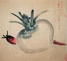 19 Century Japanese Watercolor Ink Painting of Two Vegetables. There is something about Japanese art that makes the mundane worth contemplating. Japanese Watercolor, Japanese Painting, Chinese Painting, Watercolor And Ink, Fruit Painting, Ink Painting, Japanese Prints, Japanese Art, China Art