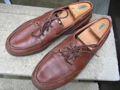 Rockport Brown Leather Used Top-Siders Boat Shoes 11 W #Rockport #BoatShoes