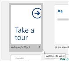 """The """"Take a tour"""" template in Word"""