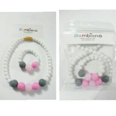 Bambiano Bespoke Gift set.  Bambiano Necklaces are made of 100% Food grade silicone. BPA free, Lead free and nontoxic. Fashionable for Mums and safe for teething babies to chew on. Pendants are washable and soft on baby's gums. Shop at www.bambiano.com