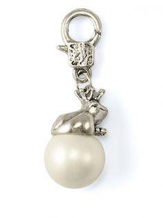 Damen Charm Anhänger Frosch mit Perle, weiss von Fashion Jewelry bei www.meinkleidchen.de
