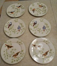 """Farberware Arbor Life/Birds Set of 6 Bread Plates/ 7 1/2"""" Diameter from early 1990's by RadiogirlCarolyn on Etsy"""