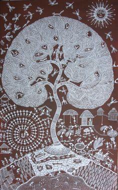 En savoir plus sur l'art des Warli : peinturewarli.com Offrandes et rituels honorent l'Arbre, symbole de la nature sous la protection des esprits bienveillants Lune et Soleil. 130 oeuvres warli seront présentées à Loudun à la Collégiale Sainte-Croix en...