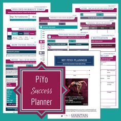The printable PiYo Planner & Success Journal is the ultimate accountability buddy!  Loaded with pages to set goals, track workouts, plan meals, record before & after stats, check off daily and weekly success habits, journal your progress - keep you motivated!  This time you will reach your goals!    WeighToMaintain.com  #piyo