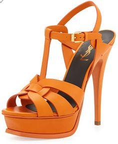 Saint Laurent Tribute Leather Platform Sandal in Orange