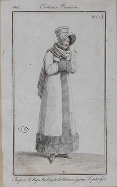1816 Costume Parisien. Hat of silk. Redingote of merino (wool) trimmed with squirrel (fur).