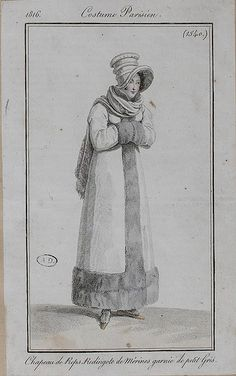 1816 Costume Parisien. Hat of silk. Redingote of merino (wool) trimmed with squirrel (fur).