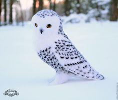 Купить Белая полярная сова (игрушка из войлока) - игрушка валяная, валяная игрушка, игрушка из войлока