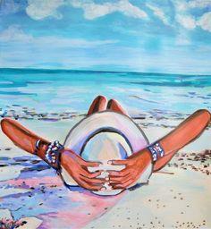 Portrait Acrylic, Acrylic Painting On Paper, Beach Art, Pop Fashion, Urban, Outdoor Decor, Artwork, Portraits, People