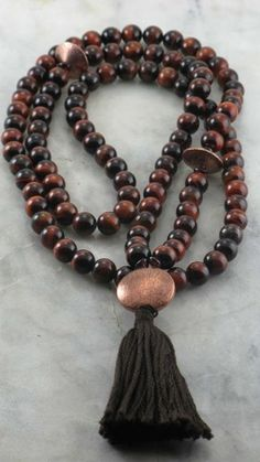 Ayurvedic Fire Mala - Tiger Eye, Garnet, and Copper - Malas, Buddhist Prayer Beads, 108 Mala Beads, kapah dosha | SaltSp