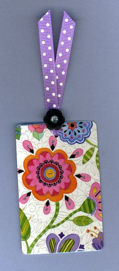 Handmade Bookmark Whimsical Flowers Mary Engelbreit Playing Card  with Vintage Button & Grosgrain Ribbon. So pretty!