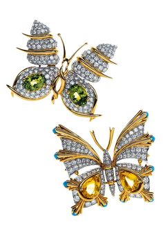 Tiffany & Co. Schlumberger Butterfly Clips in 18 K Gold with Diamonds, from Top with Peridots and with Sapphires and Turquoise. Insect Jewelry, Butterfly Jewelry, Animal Jewelry, Tiffany & Co., Tiffany Jewelry, High Jewelry, Jewelry Collection, Spring Collection, Bling