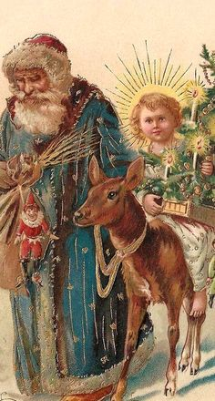.This looks like Father Christmas/St Nicholas leading the Christ Child bearing the Book of Deeds and Christmas greens...