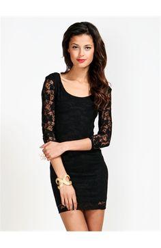 Lace Bold Shoulder Bodycon Dress