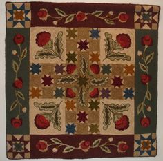 Colonial Quilt Rug Hooking Pattern by TwoOldCrowsNJ on Etsy