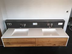 Washbasin made of mineral material. Base cabinet made of old oak wood – singer.SCHREINEREI - New Site Cheap Desk, Wash Basin, Double Vanity, Coffee Room, Ensuite Bathroom, Ensuite Bathrooms, Bathroom Vanity, Base Cabinets, Bathroom Decor