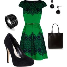 Green and Black. I'd give anything for the right curves to wear this!
