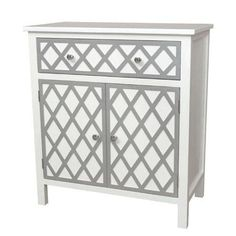 Gallerie Decor Trellis Cabinet 1 Drawer and 2 Door Accent Cabinet Finish: Black Furniture, Shabby Chic Furniture, Furniture Storage, Cream Furniture, Condo Furniture, Door Furniture, Painted Furniture, Sofa End Tables, Bedside Tables