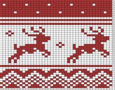 Tricksy Knitter Charts: reindeer running by Lindsay Fair Isle Knitting Patterns, Crochet Stitches Patterns, Knitting Charts, Knitting Stitches, Cross Stitch Patterns, Cross Stitching, Cross Stitch Embroidery, Fair Isle Chart, Tapestry Crochet