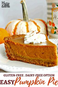 Making a homemade gluten-free pumpkin pie does not get any easier than this! A simple crust made with gluten-free Chex cereal with a sweet and perfectly spiced pumpkin filling. The recipe also has a dairy-free option. Dairy Free Pumpkin Pie, Easy Pumpkin Pie, Pumpkin Pie Recipes, Spiced Pumpkin, Best Pumpkin Pie Filling Recipe, Paleo Pumpkin Pie, Dairy Free Options, Dairy Free Recipes, Dairy Free Desserts