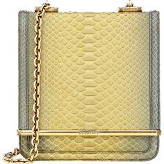 Belstaff Diana B Shoulder Bag ($2,149) ❤ liked on Polyvore featuring bags, handbags, shoulder bags, green, green purse, python handbag, chain shoulder bag, shoulder handbags and shoulder strap bag