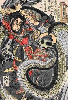 from Suikoden by Kuniyoshi Utagawa 歌川国芳 水滸伝 丁得孫 中箭虎
