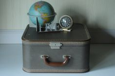 Vintage Suitcase Luggage Brown Square Suitcase by PageScrappers, $42.99