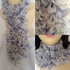 Knitted Frilly Ribbon Scarf in White & Blue £13.00