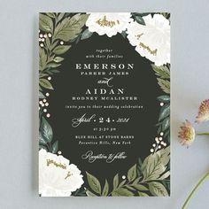 """""""Peony Floral Frame"""" - Wedding Invitations in Cornflower by Alethea and Ruth."""