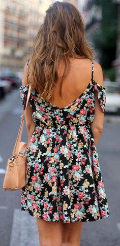 Floral cold shoulder dress.