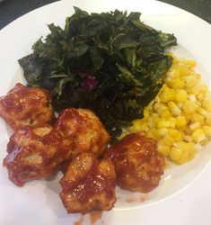 BBQ Chicken Meatballs with Roasted Collared Greens and Creamed Corn Chicken Meatballs, Bbq Chicken, Plated Reviews, Meal Delivery Service, Creamed Corn, Chana Masala, Entrees, Concrete, Roast
