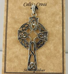 Vintage Large sterling silver Celtic Cross with by celtictreasures