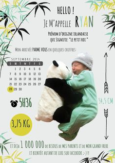Faire part bébé / birth announcement Panda
