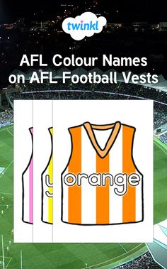 Teach your children the names of different colours with this lovely AFL themed resource, perfect for your Australian Football League display! Australian Football League, Color Names, Colours, Display, Teaching, Children, Boys, Billboard, Kids