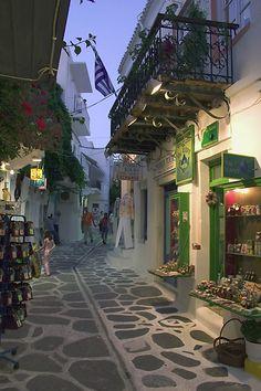 Evening on the streets of Parikia, Paros Island, Greece