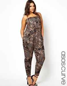 #jumpsuits are all the rage these days and this plus size one from asos is no exception. In a unique and captivating chain print you'll certainly turn some heads walking down the street in this.