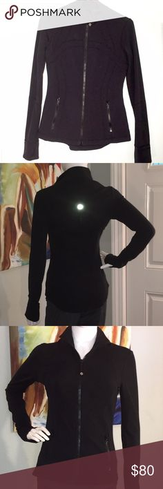 Black Lululemon Define jacket - perfect condition Black Lululemon with sweat-wicking, four-way stretch Luon® fabric, brushed for extra softness.   sweat-wicking four-way stretch kitteny-soft handfeel quick recovery naturally breathable LYCRA® for stretch, great shape retention and long-lasting comfort.  thumbholes to help keep your sleeves in place and hands warm.   Cuffins™ technology with fold-over cuffs help keep your hands warm.  Slim fit makes for easy layering and Hip length stays out…