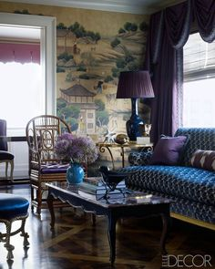 Chinoiserie wallpaper/deep, gem-toned purples and blues.