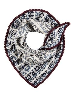 """A shawl with a geometrical Aztec design in cream white and blue. The print is woven in the fabric with the jacquard technique and gives this shawl a tribal and bohemian look  finished with a contrasting burgundy minipom fringe.  Size: 59.05 x 39.37""""  Aztec Dream Shawl by POM Amsterdam. Accessories - Scarves & Wraps Netherlands"""