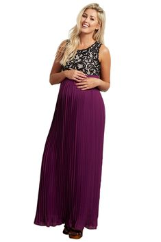 9064ff5698df2 Maternity Fashion - smart maternity dresses : PinkBlush Maternity Purple  Pleated Chiffon Lace Top Maxi Dress