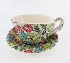 William Morris Textile Teacup Tidy-Morris Meadows-Pea Green