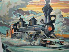 Vintage Paint by Number set TRAIN LOCOMOTIVES ENGINE RARE Art Acrylic 1950s