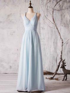 V-neck Chiffon Floor-length Ruffles New Backless Bridesmaid Dress #DGD01012880